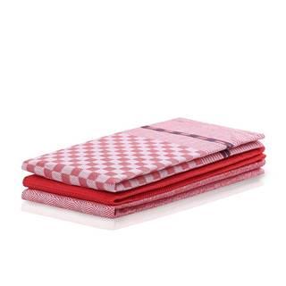 DecoKing Kuchynská utierka Louie červená, 50 x 70 cm, sada 3 ks