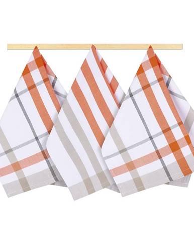 Bellatex Kuchynská utierka káro oranžová, 50 x 70 cm, sada 3 ks