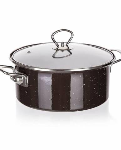 Banquet Kastról smaltovaný s pokrievkou GRANITE Dark Brown, 3,7 l