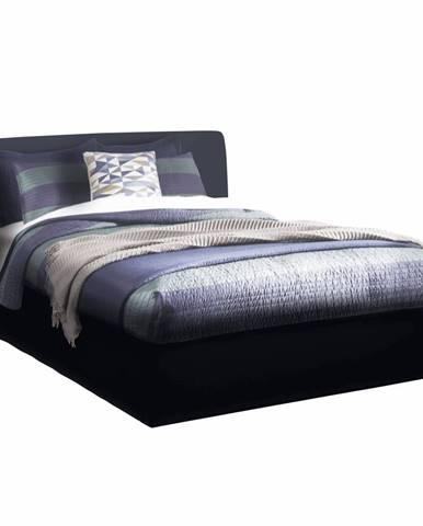 Manželská posteľ s úložným priestorom čierna 160x200 KERALA