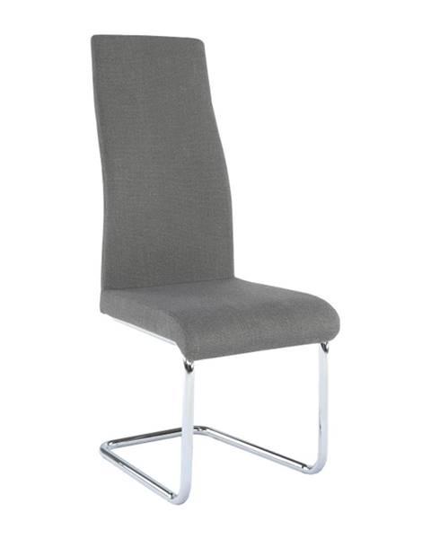 Kondela Jedálenská stolička látka tmavosivá/chróm AMINA rozbalený tovar