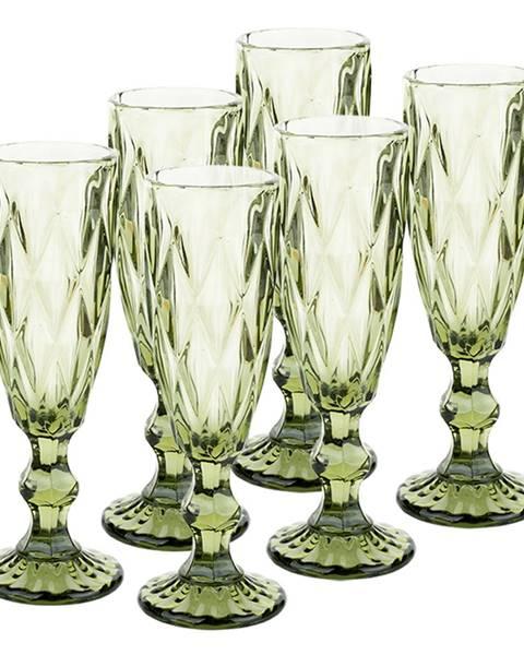 Tempo Kondela Retro sklené poháre na šampanské 6ks 150ml zelená BAROLO TYP 4