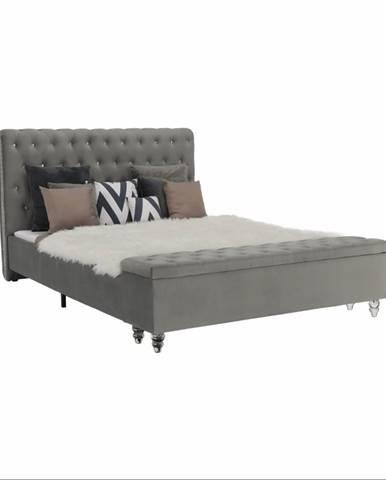 Posteľ s lavicou sivá látka Velvet 160x200 ANGALA rozbalený tovar