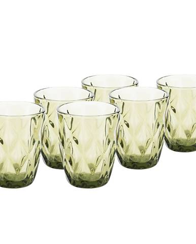 Retro sklené poháre na vodu 6ks 240ml zelená BAROLO TYP 2