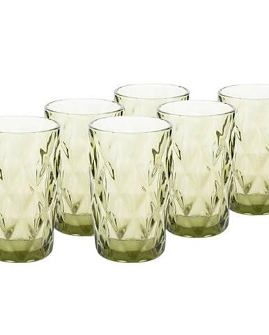 Retro sklené poháre na vodu 6ks 350ml zelená BAROLO TYP 1