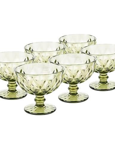 Retro sklené poháre na zmrzlinu 6ks 300ml zelená BAROLO TYP 5