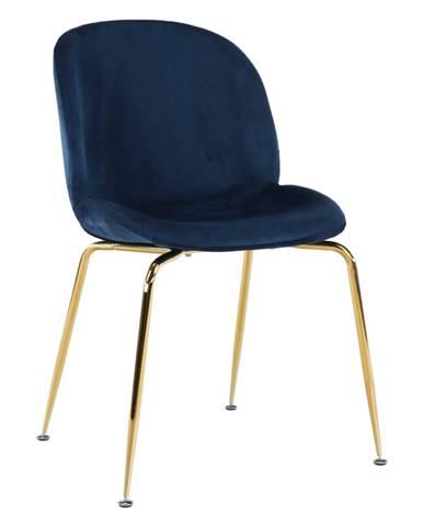 Stolička látka Velvet modrá/gold chróm-zlatá PORTIA rozbalený tovar