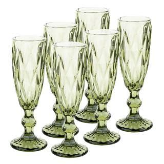 Retro sklené poháre na šampanské 6ks 150ml zelená BAROLO TYP 4