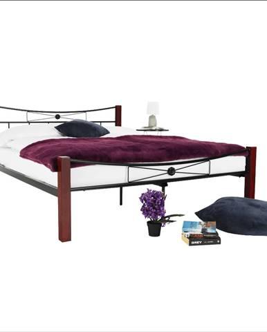 Kovová posteľ drevo orech/čierny kov 140x200 PAULA