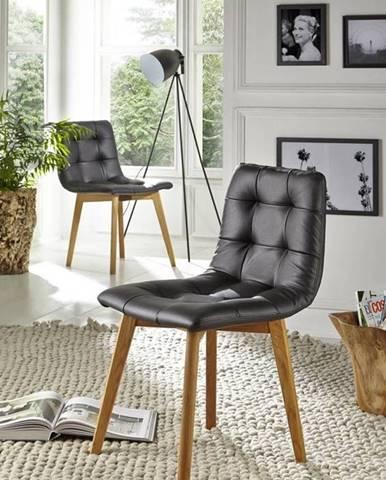 HAMBURG Jedálenská stolička čalúnená,koža, čierna