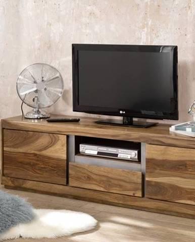 ROUND TV stolík 170x50 cm, hnedá, palisander