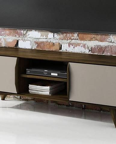 SKANE TV stolík 134x48 cm, dub, tmavohnedá