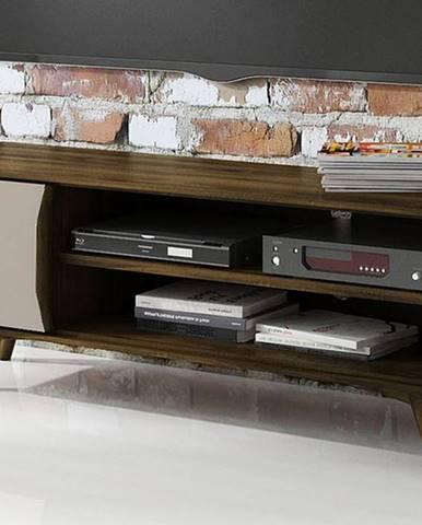 SKANE TV stolík I. 134x48 cm, dub, tmavohnedá
