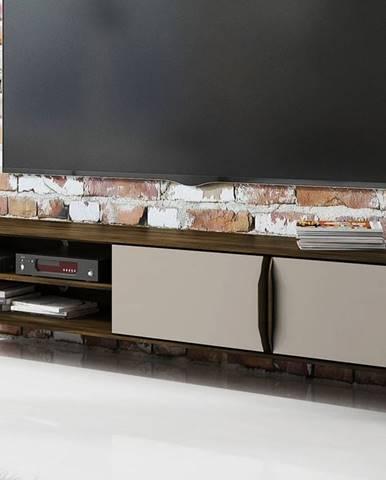 SKANE TV stolík I. 220x48 cm, dub, tmavohnedá