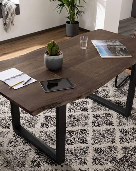 Bighome.sk METALL Jedálenský stôl s antracitovými nohami (matné) 140x90, akácia, sivá