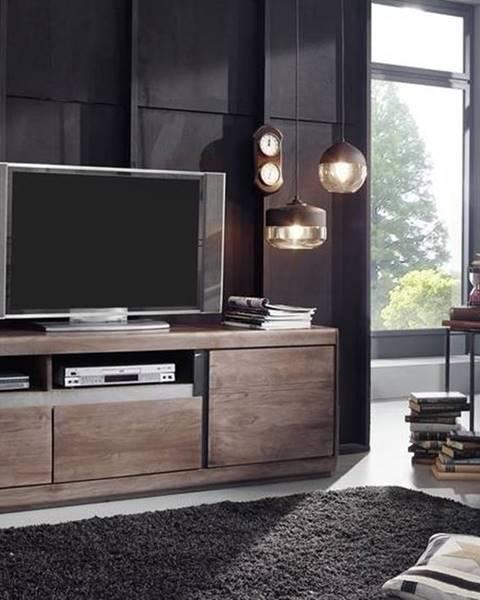 Bighome.sk ROUND TV stolík so šuplíkmi 180x60 cm, dymová, palisander