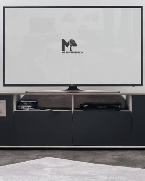Bighome.sk TAMPERE TV stolík 58x180 cm, dub, svetlosivá