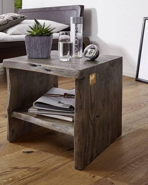 Bighome.sk WOODLAND Nočný stolík bez šuplíka 45x45 cm, sivá, akácia