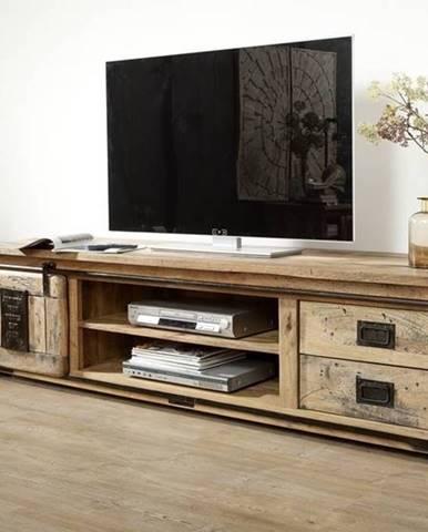 IRON III. TV stolík 200x50 cm, mango, prírodná