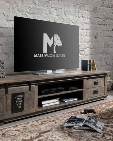 IRON III. TV stolík 200x50 cm, mango, sivá