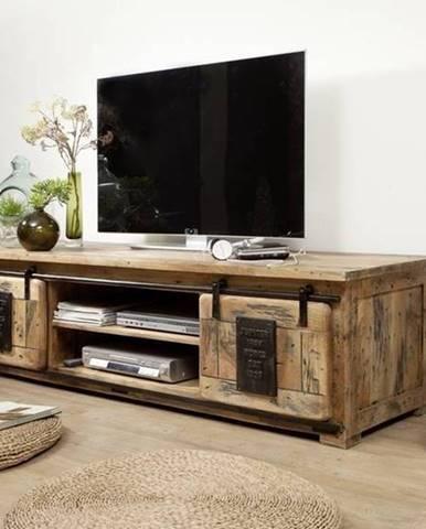 IRON TV stolík 180x55 cm, mango, prírodná