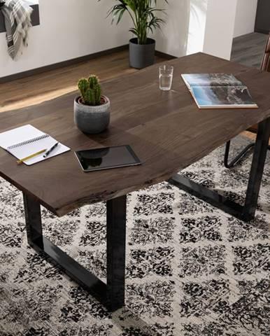 METALL Jedálenský stôl s antracitovými nohami (lesklé) 120x90, akácia, sivá