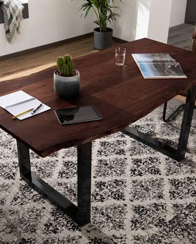 METALL Jedálenský stôl s antracitovými nohami (lesklé) 180x90, akácia, hnedá