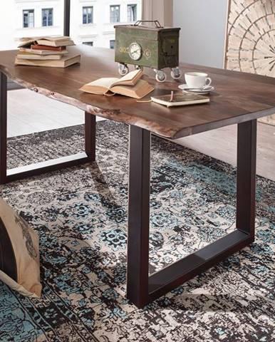 METALL Jedálenský stôl s antracitovými nohami (matné) 180x90, akácia, sivá