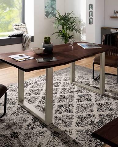 METALL Jedálenský stôl so striebornými nohami 140x90, akácia, hnedá