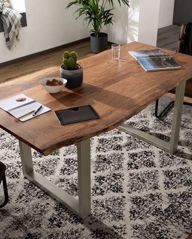 METALL Jedálenský stôl so striebornými nohami 200x100, akácia, prírodná