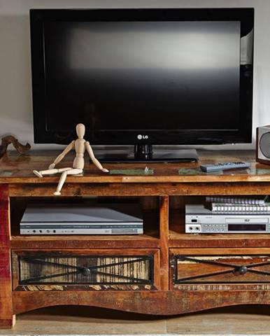 OLDTIME TV stolík 121x56 cm, staré drevo