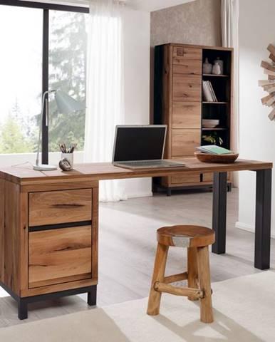 TIROL Písací stôl 220x55 cm, tmavohnedá, dub