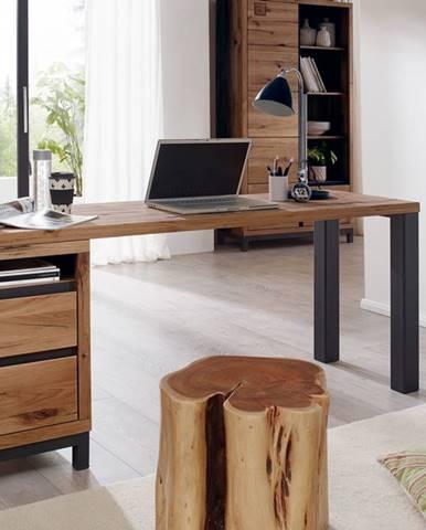 TIROL Písací stôl s poličkou 180x55 cm, tmavohnedá, dub