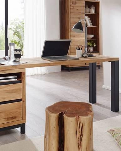 TIROL Písací stôl s poličkou 220x55 cm, prírodná, dub