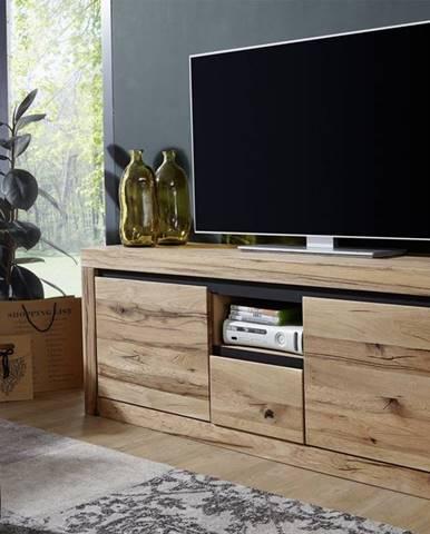VEVEY TV stolík 155x60 cm, prírodná, dub