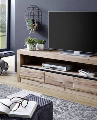 VEVEY TV stolík 165x55 cm, svetlohnedá, dub
