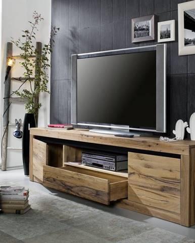 VEVEY TV stolík 202x55 cm, tmavohnedá, dub