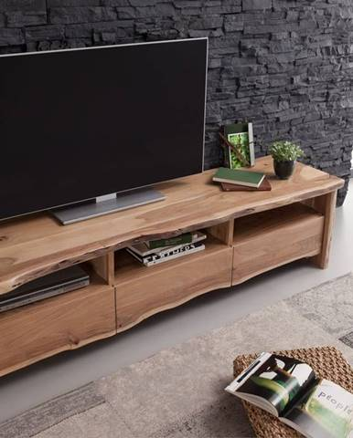 WOODLAND TV stolík 191x50 cm, prírodná, akácia
