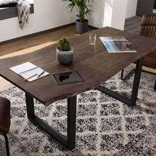 METALL Jedálenský stôl s antracitovými nohami (matné) 140x90, akácia, sivá