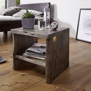 WOODLAND Nočný stolík bez šuplíka 45x45 cm, sivá, akácia