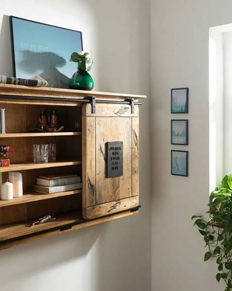 Bighome.sk IRON Nástenný regál 130x80 cm, mango, prírodná
