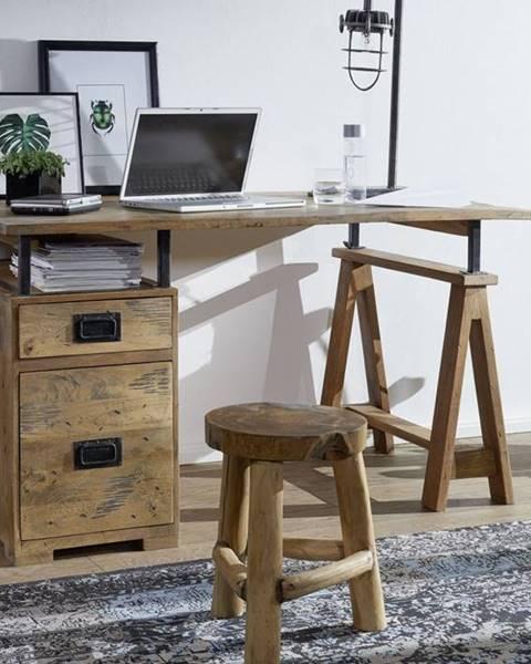 Bighome.sk IRON Písací stôl 140x78 cm, mango, prírodná