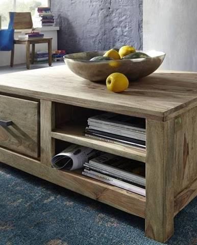 NATURAL Príručný stolík  poličkami 100x70 cm, palisander