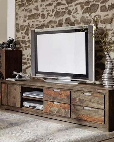 PLAIN SHEESHAM TV stolík so zásuvkami 205x45 cm, palisander