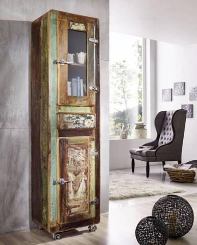 TESORI Regál s vitrínou 190x55 cm, staré drevo