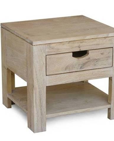 WHITE WOOD Nočný stolík 50x35 cm, akácia