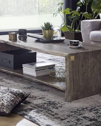 WOODLAND Konferenčný stolík s poličkou 150x70 cm, sivá, akácia