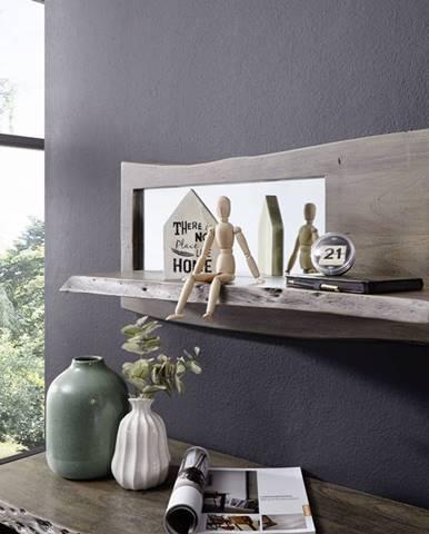 WOODLAND Nástenný regál 38x101 cm, sivá, akácia