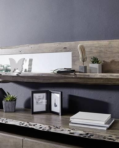 WOODLAND Nástenný regál 38x191 cm, sivá, akácia
