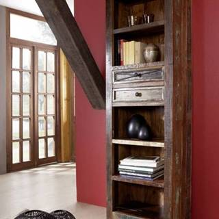 OLDTIME Regál so zásuvkou 190x60 cm, staré drevo
